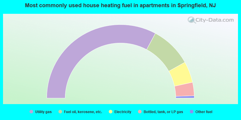 Most commonly used house heating fuel in apartments in Springfield, NJ