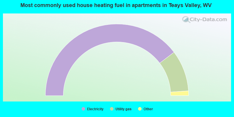 Most commonly used house heating fuel in apartments in Teays Valley, WV