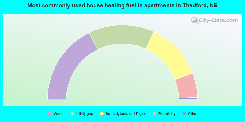 Most commonly used house heating fuel in apartments in Thedford, NE