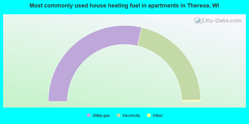 Most commonly used house heating fuel in apartments in Theresa, WI
