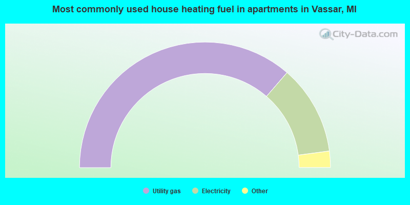 Most commonly used house heating fuel in apartments in Vassar, MI