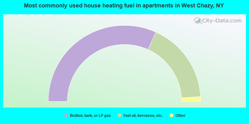 Most commonly used house heating fuel in apartments in West Chazy, NY