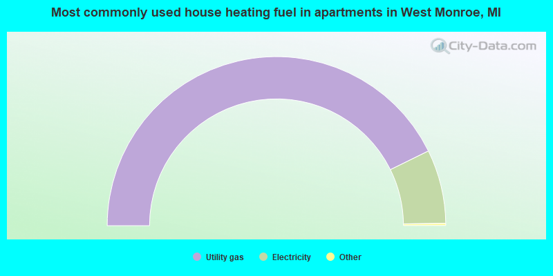 Most commonly used house heating fuel in apartments in West Monroe, MI