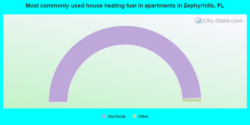 Most commonly used house heating fuel in apartments in Zephyrhills, FL