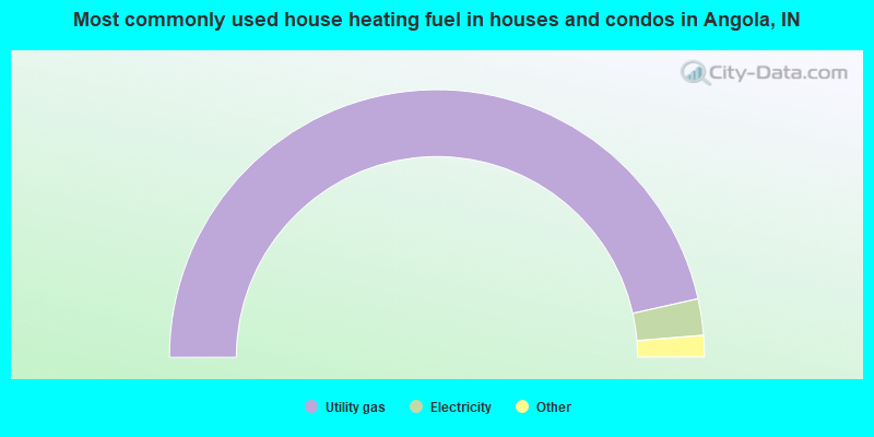 Most commonly used house heating fuel in houses and condos in Angola, IN