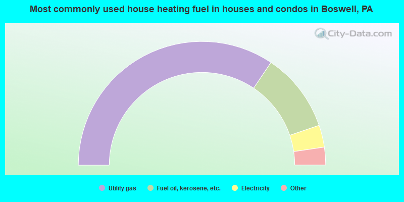 Most commonly used house heating fuel in houses and condos in Boswell, PA