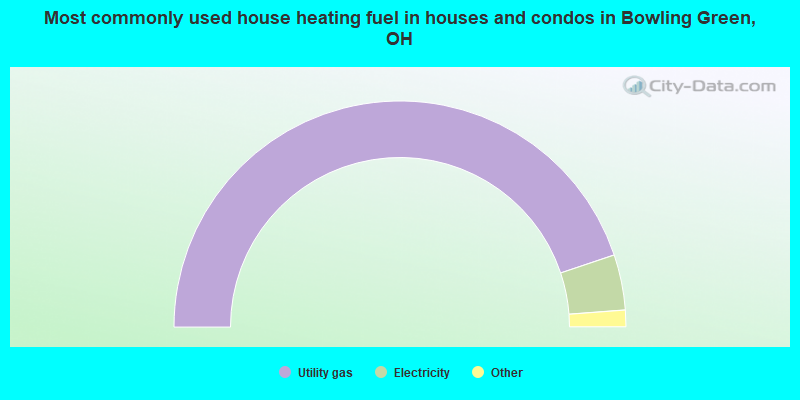 Most commonly used house heating fuel in houses and condos in Bowling Green, OH