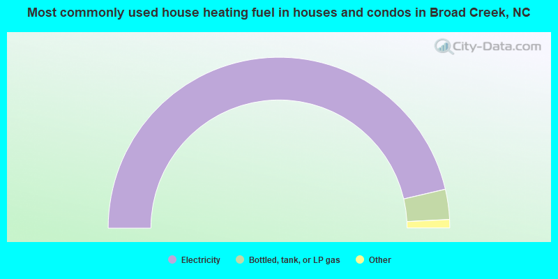Most commonly used house heating fuel in houses and condos in Broad Creek, NC