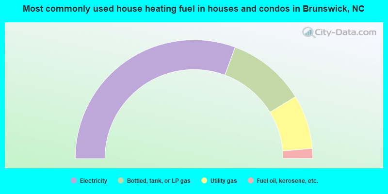 Most commonly used house heating fuel in houses and condos in Brunswick, NC