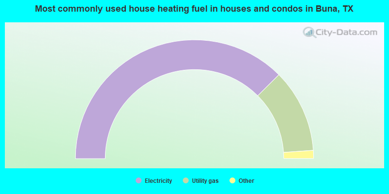 Most commonly used house heating fuel in houses and condos in Buna, TX