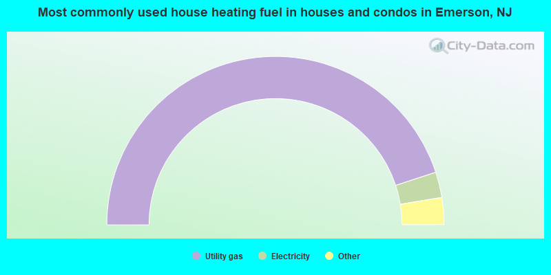 Most commonly used house heating fuel in houses and condos in Emerson, NJ