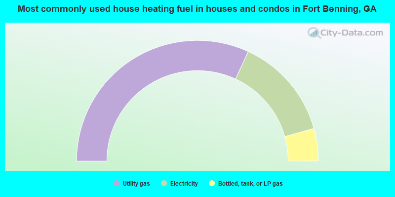 Most commonly used house heating fuel in houses and condos in Fort Benning, GA