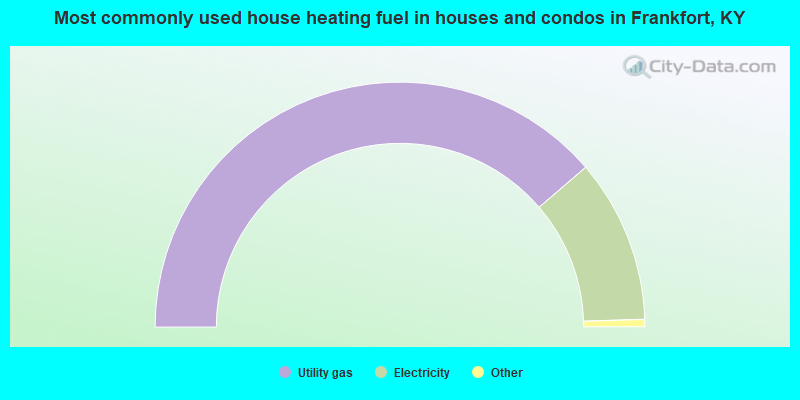 Most commonly used house heating fuel in houses and condos in Frankfort, KY