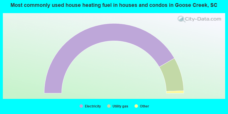 Most commonly used house heating fuel in houses and condos in Goose Creek, SC