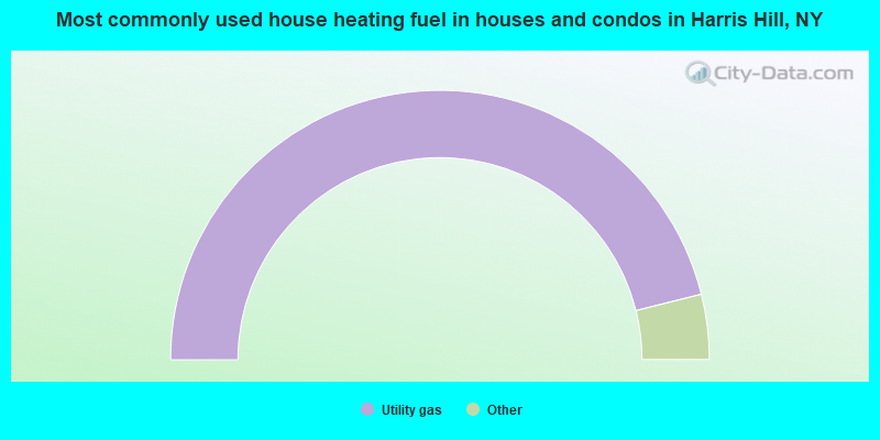 Most commonly used house heating fuel in houses and condos in Harris Hill, NY
