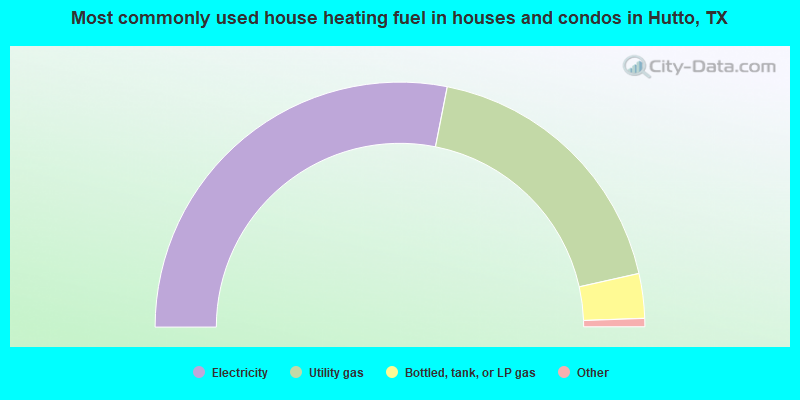 Most commonly used house heating fuel in houses and condos in Hutto, TX