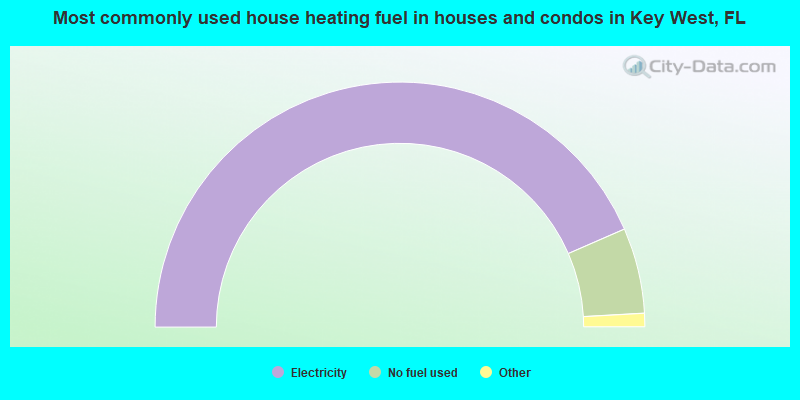 Most commonly used house heating fuel in houses and condos in Key West, FL