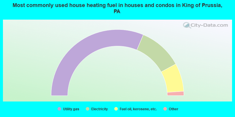 Most commonly used house heating fuel in houses and condos in King of Prussia, PA