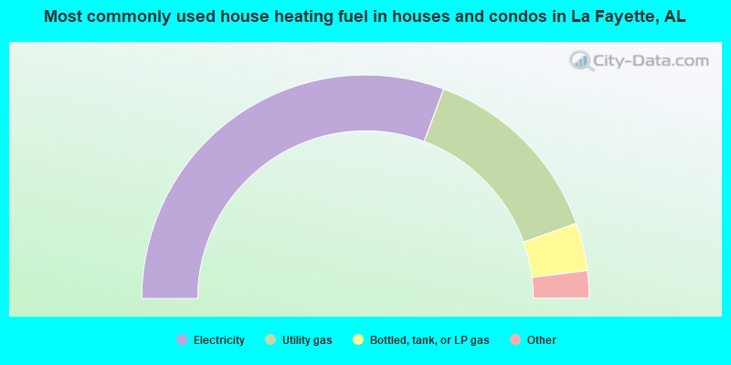 Most commonly used house heating fuel in houses and condos in La Fayette, AL