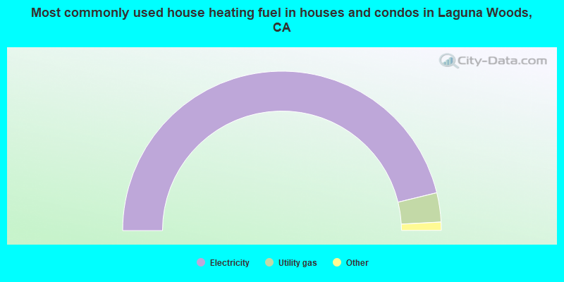 Most commonly used house heating fuel in houses and condos in Laguna Woods, CA