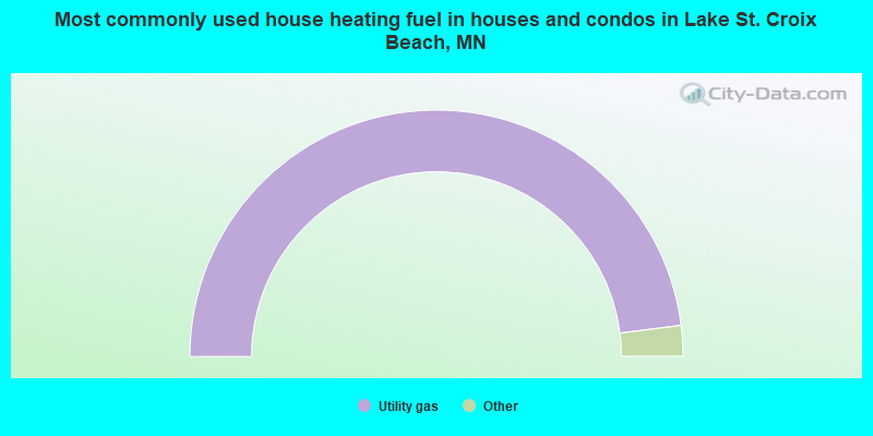 Most commonly used house heating fuel in houses and condos in Lake St. Croix Beach, MN