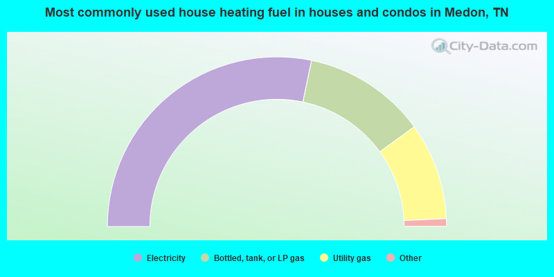 Most commonly used house heating fuel in houses and condos in Medon, TN