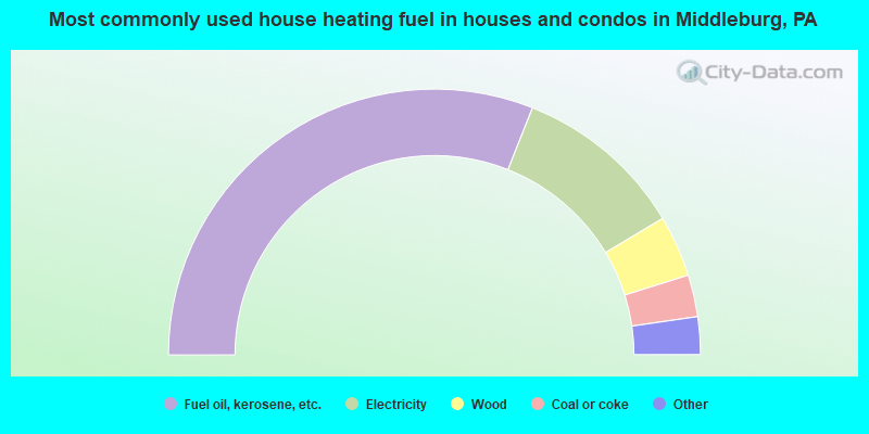 Most commonly used house heating fuel in houses and condos in Middleburg, PA
