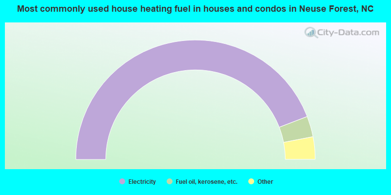 Most commonly used house heating fuel in houses and condos in Neuse Forest, NC