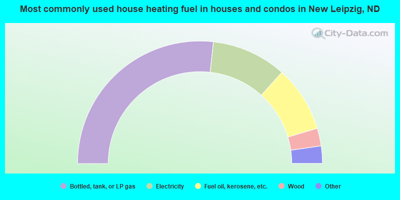 Most commonly used house heating fuel in houses and condos in New Leipzig, ND