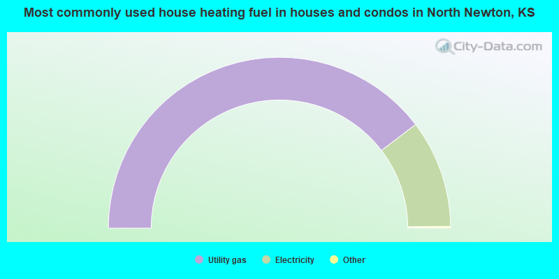Most commonly used house heating fuel in houses and condos in North Newton, KS