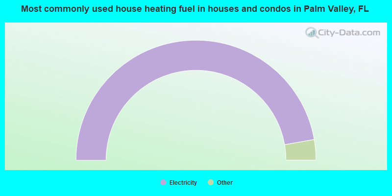 Most commonly used house heating fuel in houses and condos in Palm Valley, FL
