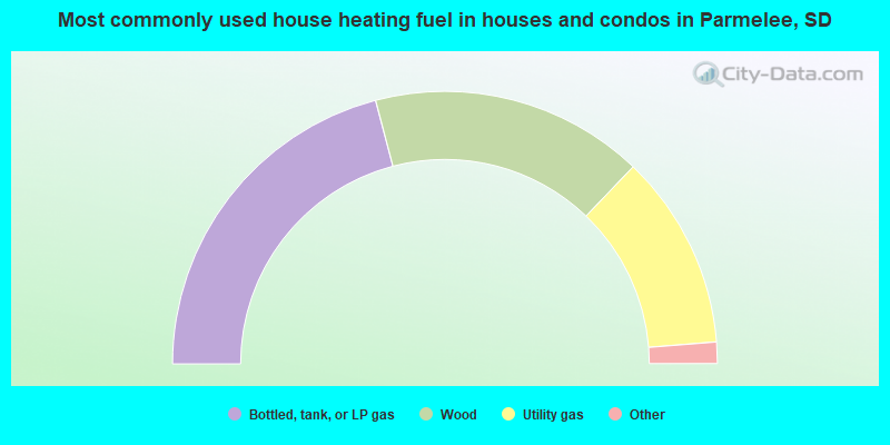Most commonly used house heating fuel in houses and condos in Parmelee, SD
