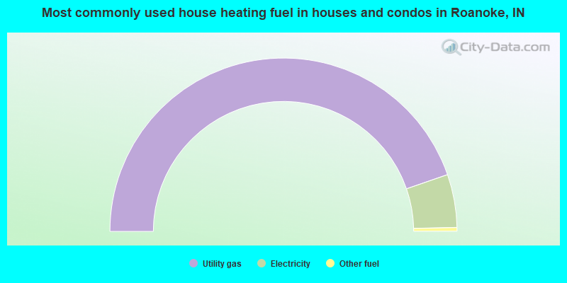 Most commonly used house heating fuel in houses and condos in Roanoke, IN