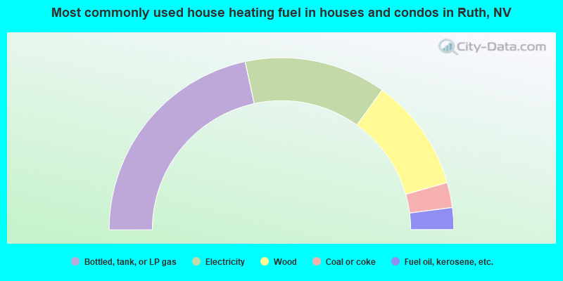 Most commonly used house heating fuel in houses and condos in Ruth, NV