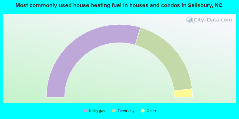 Most commonly used house heating fuel in houses and condos in Salisbury, NC