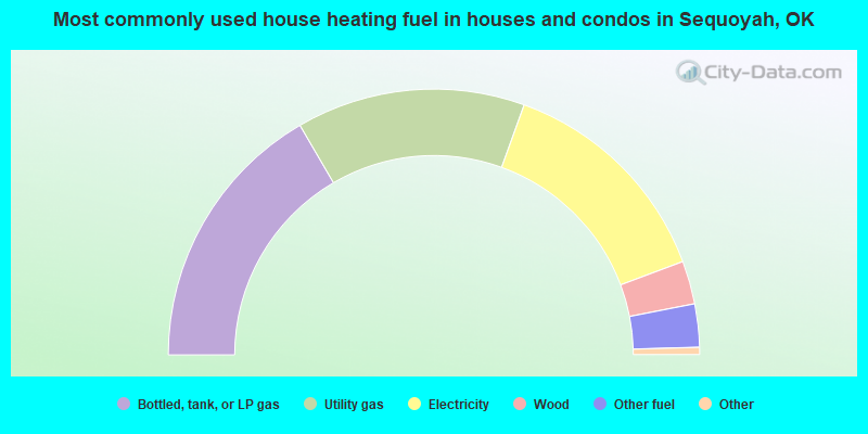 Most commonly used house heating fuel in houses and condos in Sequoyah, OK