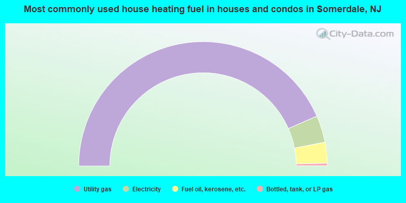 Most commonly used house heating fuel in houses and condos in Somerdale, NJ