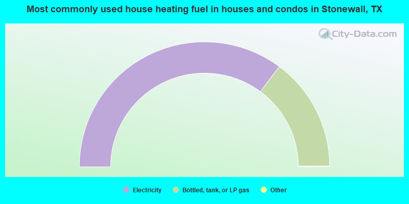 Most commonly used house heating fuel in houses and condos in Stonewall, TX