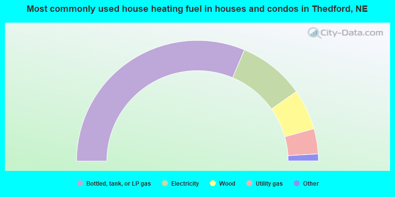 Most commonly used house heating fuel in houses and condos in Thedford, NE