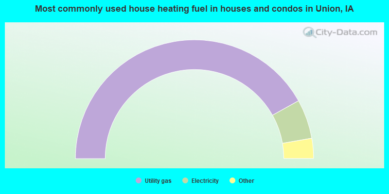 Most commonly used house heating fuel in houses and condos in Union, IA