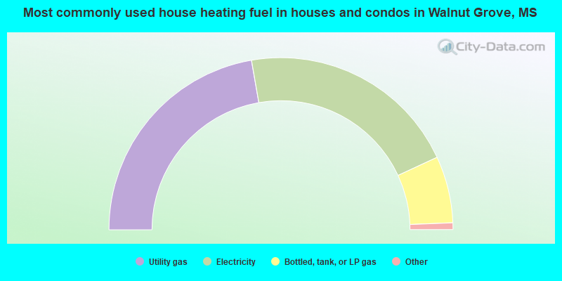 Most commonly used house heating fuel in houses and condos in Walnut Grove, MS
