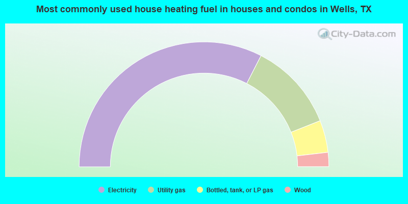 Most commonly used house heating fuel in houses and condos in Wells, TX