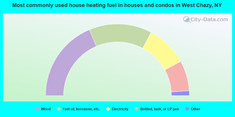 Most commonly used house heating fuel in houses and condos in West Chazy, NY