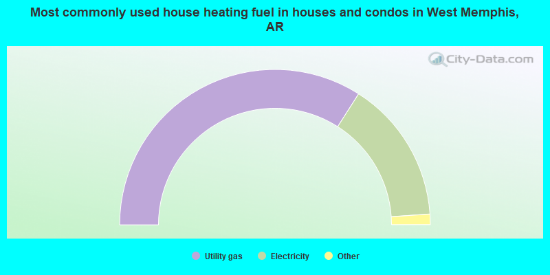 Most commonly used house heating fuel in houses and condos in West Memphis, AR