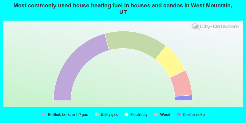 Most commonly used house heating fuel in houses and condos in West Mountain, UT