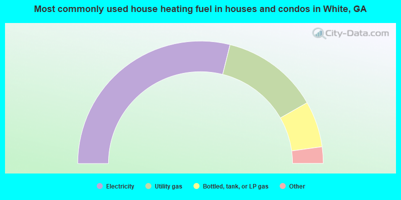 Most commonly used house heating fuel in houses and condos in White, GA