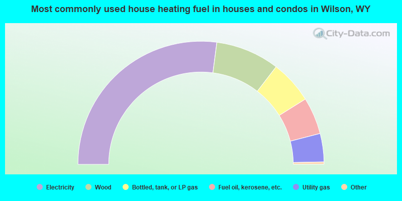Most commonly used house heating fuel in houses and condos in Wilson, WY
