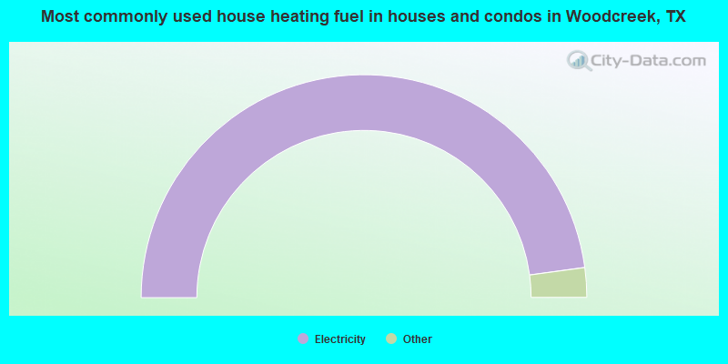 Most commonly used house heating fuel in houses and condos in Woodcreek, TX