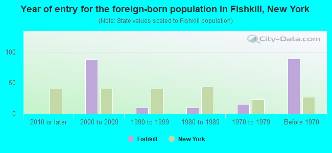 Year of entry for the foreign-born population in Fishkill, New York