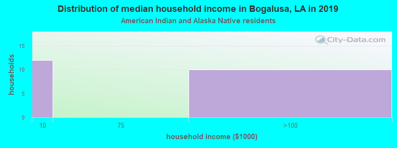 Bogalusa household income for American Indian and Alaska Native householders